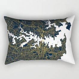 Sydney City Map of Australia - Gold Art Deco Rectangular Pillow