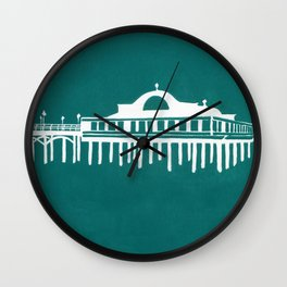 Seaside Pier in Turquoise Wall Clock
