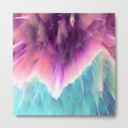 Space Explosions in Pinks, Purples, and Aqua Blues Metal Print