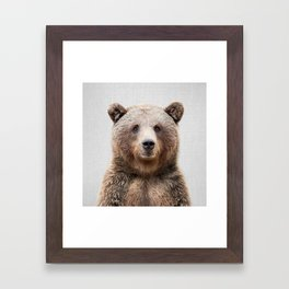 Grizzly Bear - Colorful Framed Art Print