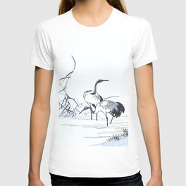 Antique Japanese Woodblock Print Art By Kono Bairei - Five Cranes Standing In The Swamp Water  T-shirt