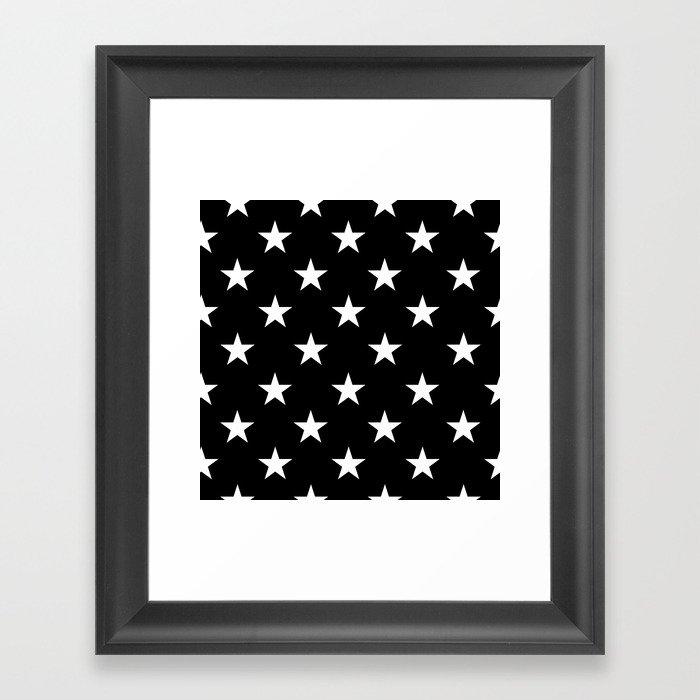 Stars (White/Black) Gerahmter Kunstdruck