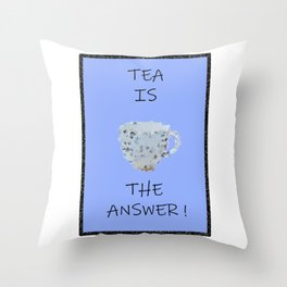 Blue tea Throw Pillow