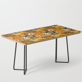 70s Retro Flower Power 60s floral Pattern Orange yellow Blue Coffee Table