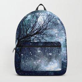 Black Trees Deep Blue Teal Space Backpack
