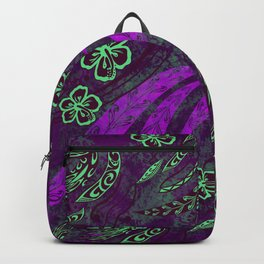 Purple Hawaiian Wild Tribal Watercolor Splash Backpack