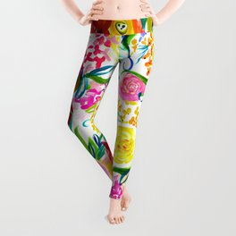 Bright Colorful Floral painting Leggings
