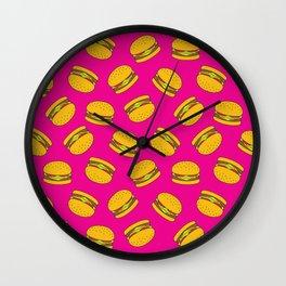 Pink Burger Pattern Wall Clock