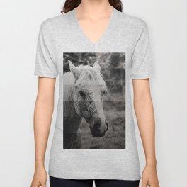 GreyScale Horse Unisex V-Neck