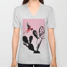 Cactus & humming bird Unisex V-Neck