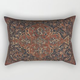 Boho Chic Dark IV // 17th Century Colorful Medallion Red Blue Green Brown Ornate Accent Rug Pattern Rectangular Pillow