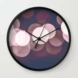 Bokeh focus lens effect Rose Quartz and Serenity color background Wall Clock