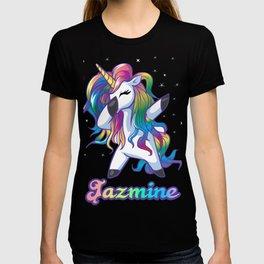 JAZMINE Name Personalized Custom Rainbow Unicorn Dabbing T-shirt