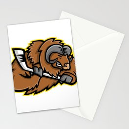 Musk Ox Ice Hockey Mascot Stationery Cards