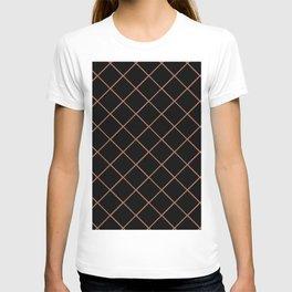 Sherwin Williams Cavern Clay SW7701 Thin Line Stripe Grid on Black T-shirt