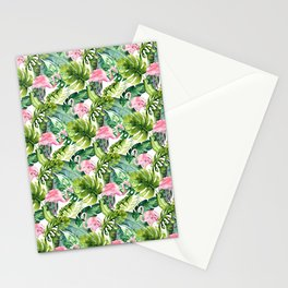Pink green watercolor flamingo tropical monster leaves Stationery Cards