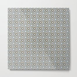 Vintage blue ceramic tiles wall decoration, Iznik - Tiles and Ceramics. Metal Print