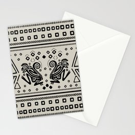 Aztec Monkeys and Ornaments - Black Stationery Cards