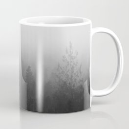 fog forest landscape photography - trees and clouds black and white   Coffee Mug