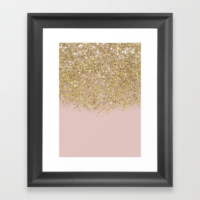 Pink and Gold Glitter Gerahmter Kunstdruck
