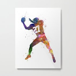 american football player man catching receiving silhouette Metal Print