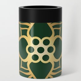 Indian Golden Lotus Harmony Mandala Pattern with Classy Green background color Can Cooler