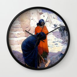 """William Leigh Western Art """"Baking Pottery"""" Wall Clock"""