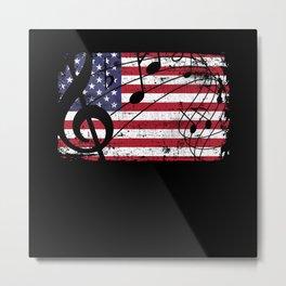 USA Flag Music Metal Print