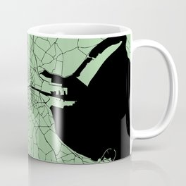 Dublin Ireland Green on Black Street Map Coffee Mug