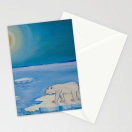 Polar Bear floating on a iceberg Stationery Cards