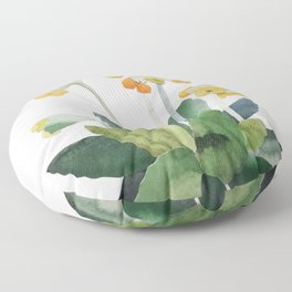 watercolor primrose yellow flower Floor Pillow