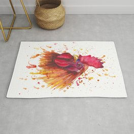 Red rooster portrait Rug