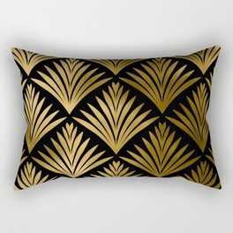 Luxurious Black and Gold Art Deco Elegant Pattern Rectangular Pillow