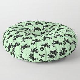Dirt Bikes // Light Green Floor Pillow
