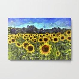 Sunflower Fields Of Dreams Van Goth Metal Print
