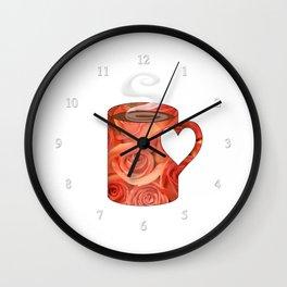 roses heart handle mug - coffee cup series Wall Clock