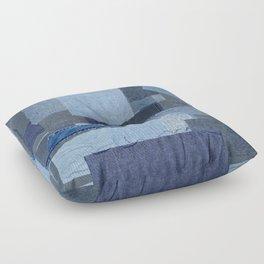 Boroboro Blue Jean Japanese Boro Inspired Patchwork Shibori Floor Pillow