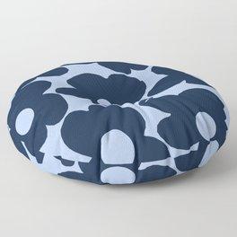 Large Dark Blue Retro Flowers Baby Blue Background #decor #society6 #buyart Floor Pillow