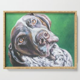 GSP German Shorthaired Pointer dog portrait art from an original painting by L.A.Shepard Serving Tray