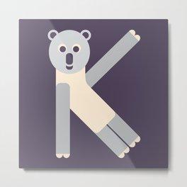 Letter K // Animal Alphabet // Koala Monogram Metal Print