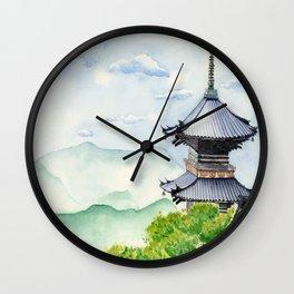 Japanese Temple, Kyoto , Kiyomizudera ,  Art Watercolor Painting print by Suisai Genki  Wall Clock