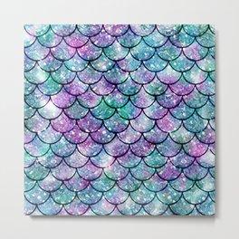 Mermaid Pattern - Aqua & Purple Glitter Texture Metal Print