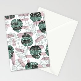 Pastel pink green white watercolor tropical floral brushstrokes Stationery Cards