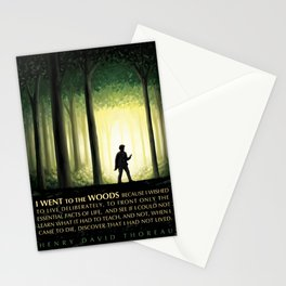Henry David Thoreau Inspirational Quote: I Went to the Woods Stationery Cards