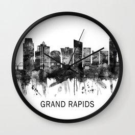 Grand Rapids Michigan Skyline BW Wall Clock