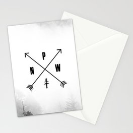 PNW Pacific Northwest Compass - Black and White Forest Stationery Cards