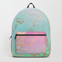 Rainbow Glamour Marble Texture Backpack