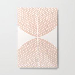 Soft Peach Minimal Fall Leaf Metal Print