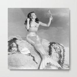 Vintage Mermaid : Mr Peabody & The Mermaid Metal Print