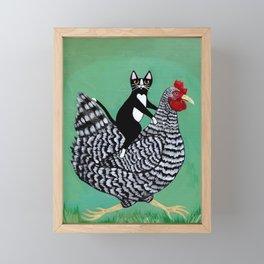 Cat on a Chicken Framed Mini Art Print
